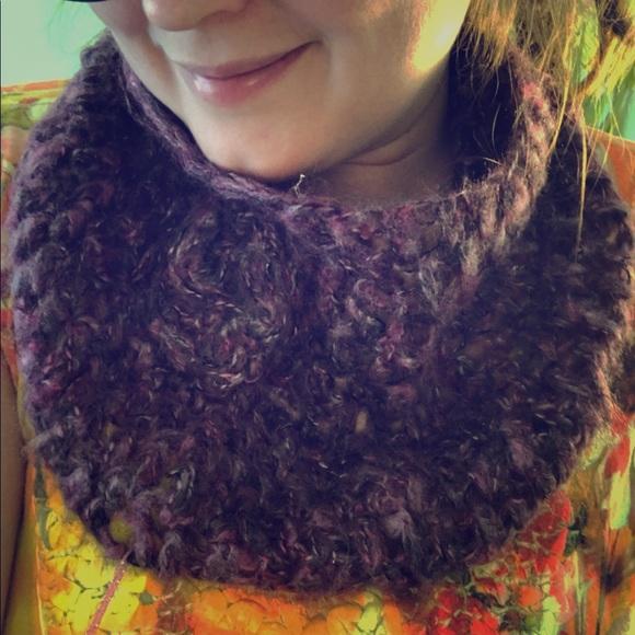 Fall handmade purple crochet cozy cowl fuzzy scarf